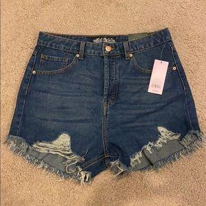 Target High Rise Blue Jean Shorts